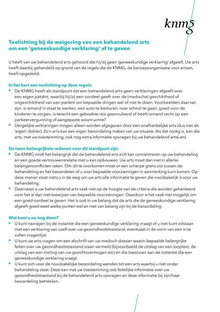 KNMG Weigeringsbriefje Nederlands